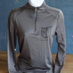 Mother Trucker Yoga Women's Grey Zip Pullover Shirt