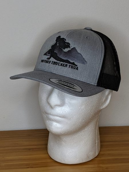 Mother Trucker Yoga Black and Charcoal Trucker Hat