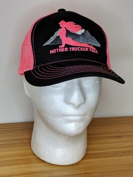 Mother Trucker Yoga Neon Pink Trucker Hat