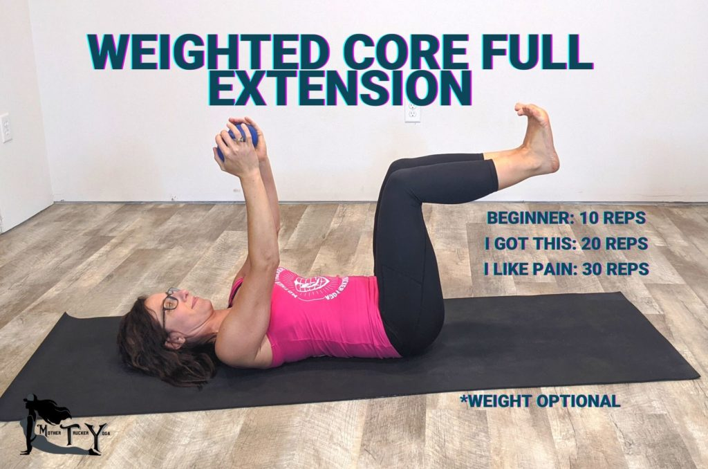 Weighted core full extension truck driver core workout mother trucker yoga blog post